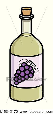 Drawing Art Of Cartoon Vintage Wine Drink Bottle Vector Illustration