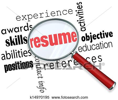 Stock Image of Resume Magnifying Glass Apply Job Experience Document