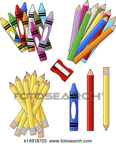 clipart of school supplies k14918725 search clip art illustration rh fotosearch com free clipart pictures of school supplies free clipart images of school supplies