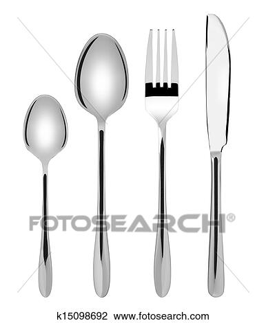 Stock Photo - Shiny new cutlery set - spoon fork and knife flatware isolated  sc 1 st  Fotosearch & Stock Photo of Shiny new cutlery set - spoon fork and knife ...