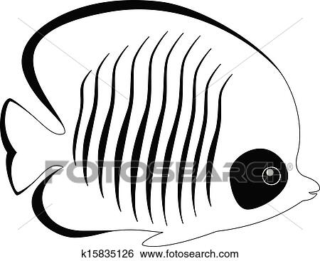 Line Art Of Fish : Clip art of silhouette butterfly fish isolated on white k15835126