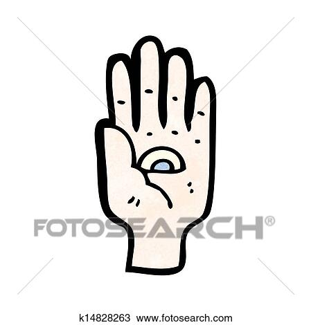 Clipart Of Spooky All Seeing Eye Hand Symbol K14828263 Search Clip
