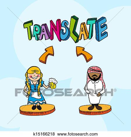 Clip Art Of Translation Concept German Arabic People Cartoon
