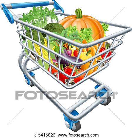 clipart of vegetable shopping cart trolley k15415823 search clip rh fotosearch com supermarket trolley clipart clipart trolley car