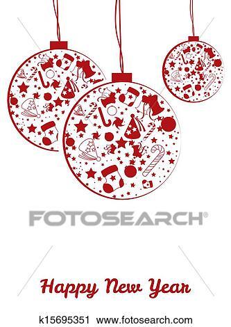 剪贴画 - 新年, 球, 明信片图片