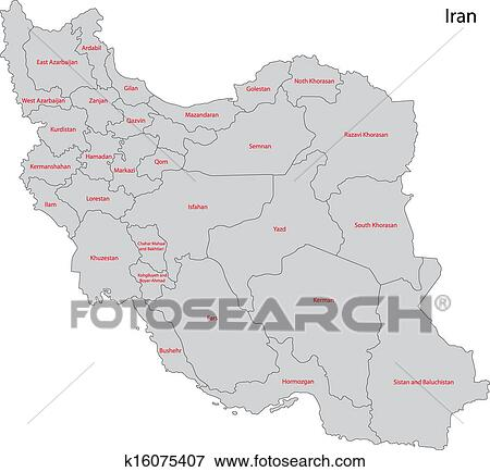 灰色, 伊朗, 地图 剪贴画图片