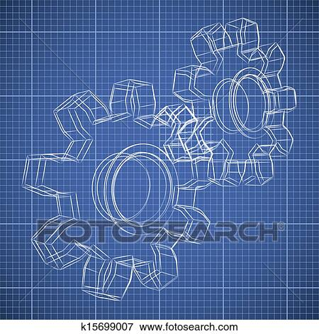 Clip art of 3d gear wheel sketch drawing on blueprint background 3d gear wheel sketch drawing on blueprint background malvernweather Gallery
