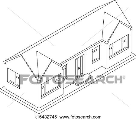 Clipart Of 3d Isometric Bungalow K16432745