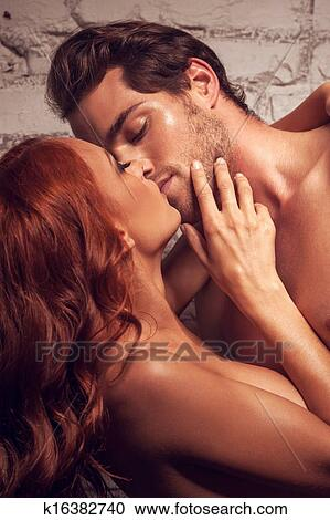 Nude couple kissing passionately, prone nude se