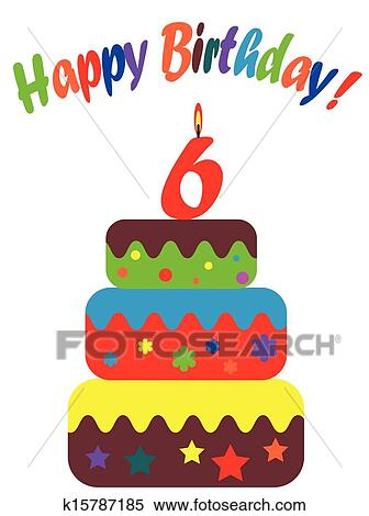clipart of birthday card for six years k15787185 search clip art rh fotosearch com birthday cards clip art for men birthday card clipart black and white