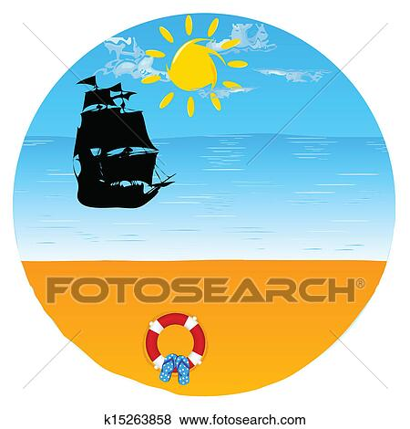 clip art of boat with beach stuff and paradise beach vector rh fotosearch com beach vector background beach vector art