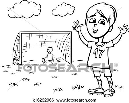 black and white cartoon illustration of cute boy playing football or soccer for coloring book - Soccer Coloring Page