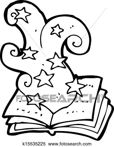 clipart of cartoon magic spell book k15535225 search clip art rh fotosearch com Magic E Clip Art Magic Show Clip Art