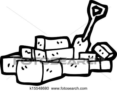 Clipart Of Cartoon Pile Bricks K15548680