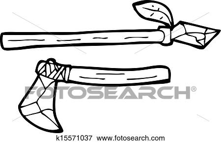 clip art of cartoon primitive axe and spear k15571037 search rh fotosearch com primitive christmas clipart primitive clip art tags