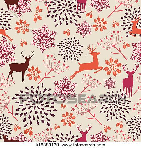 Clip Art Of Cute Vintage Christmas Elements Seamless Pattern