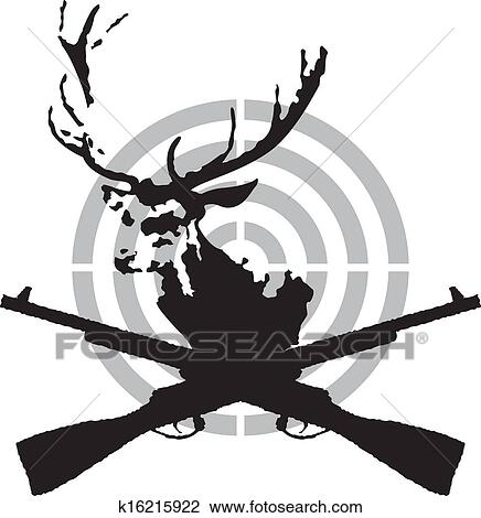 Clipart Of Deer Hunt Symbol K16215922 Search Clip Art