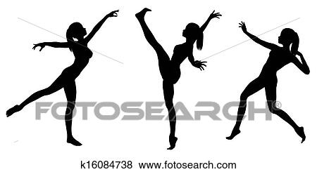 stock illustration female gymnast silhouettes 1 fotosearch search eps clip art