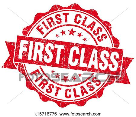 Good First Class Grunge Stamp In First Class Degree