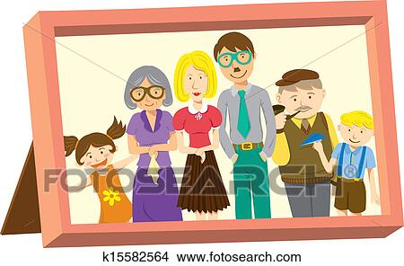 Clipart Of Frame With American Family Portrait K15582564