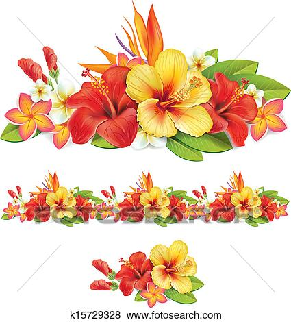 clip art of garland of of tropical flowers k15729328 search rh fotosearch com tropical flowers clipart free Tropical Drink Clip Art