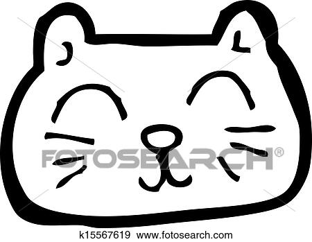 clip art of happy cat face cartoon k15567619 search clipart rh fotosearch com cat face clipart png cat face clipart png