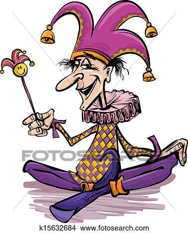 clipart of jester or joker cartoon illustration k15632684 search rh fotosearch com joker clip art black and white joker clipart batman