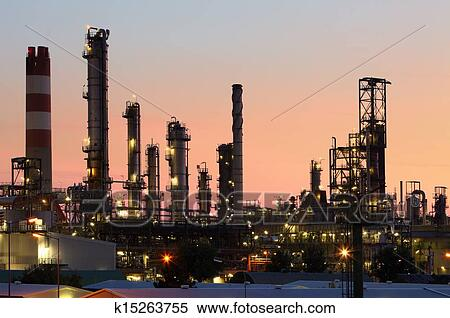 Oil and gas industry - refinery at twilight - factory - petrochemical ...