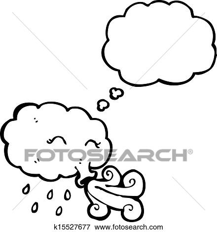 Clip Art of cartoon storm cloud blowing wind k15527677 - Search ...