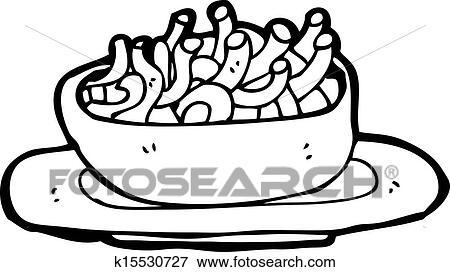 一碗面简笔画- 卡通漫画, 面条, 碗