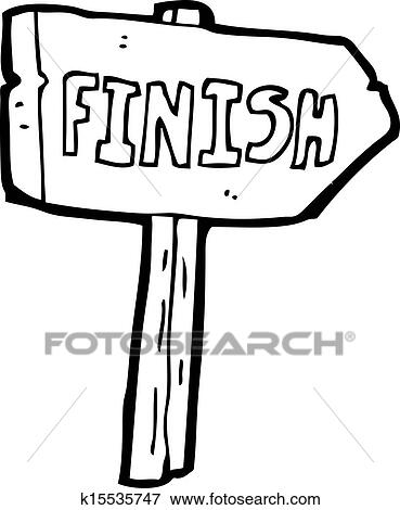 Clip Art of cartoon finish sign k15535747 - Search Clipart ...