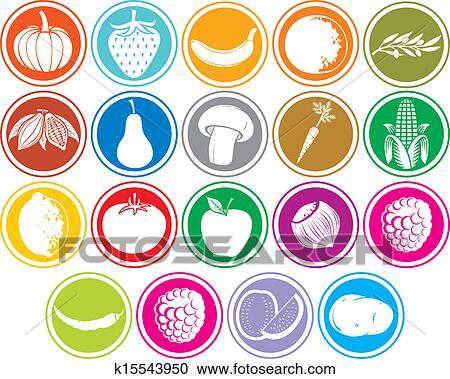 Clipart frutta verdure icone bottoni k15543950 cerca for Clipart frutta