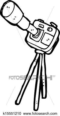 剪贴画 卡通漫画, 照相机, 在上, 三脚架