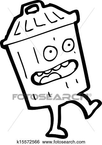 Clipart dessin anim poubelle k15572566 recherchez des cliparts des illustrations des - Dessin de poubelle ...