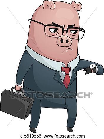 Clipart business cochon k15619556 recherchez des - Dessin cochon debout ...