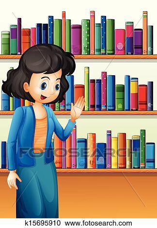 Bücherreihe clipart  Clipart - a, bibliothekar, vor, dass, bücherregale, mit, buecher ...