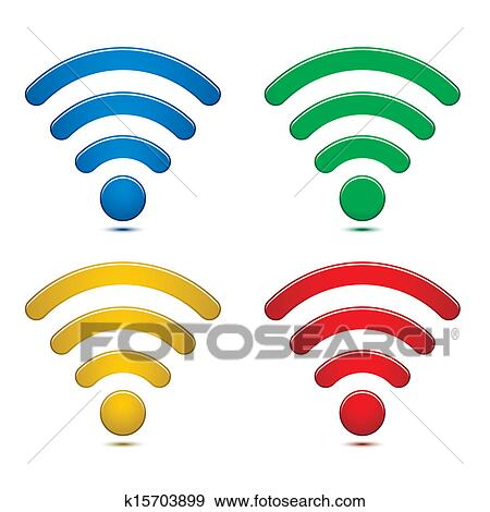 Clip Art of Wireless Network Symbols Set k15703899 ...