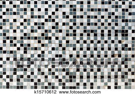 贴画 怀特, 黑色和, 灰色, 马赛克, 瓦片
