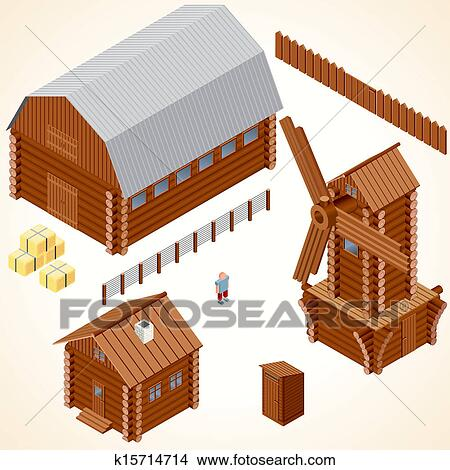 Isometric Wooden Cabins And House Vector Clip Art