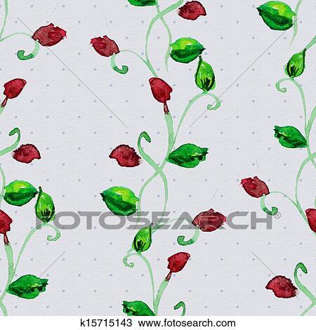 手绘图 - 植物群, seamless