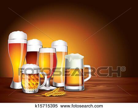 Clipart bicchieri birra su tavola legno sfondo scuro for Bicchieri birra prezzi