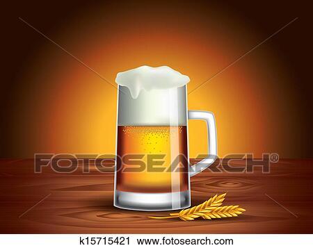 clipart glas bier auf holztisch dunkler hintergrund k15715421 suche clip art. Black Bedroom Furniture Sets. Home Design Ideas