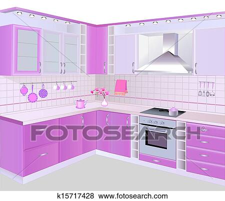 Clip Art Of Kitchen Interior With Pink Furniture And Tiles