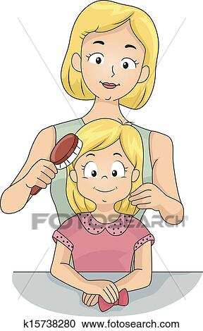 剪贴画 - 妈妈, 刷, 女儿`