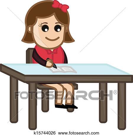 剪贴画 - 女孩, 学习,
