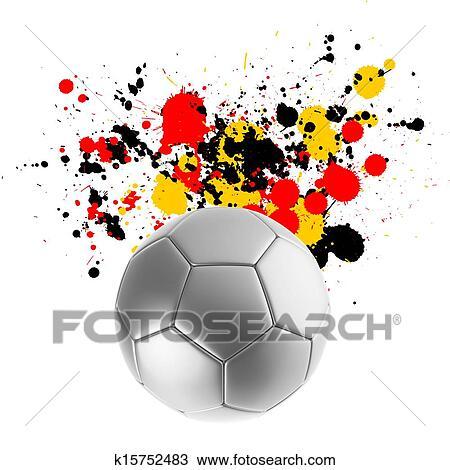 手绘图 - 3d, 提供, 在中, a, 足球, 带, 旗, 飞溅, 颜色.图片