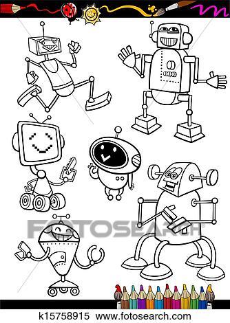 剪贴画 - 机器人, 卡通漫画, 放置, 为, 着色书图片