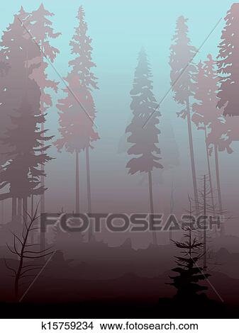 Clipart of Mist in coniferous forest. k15759234 - Search Clip Art ...