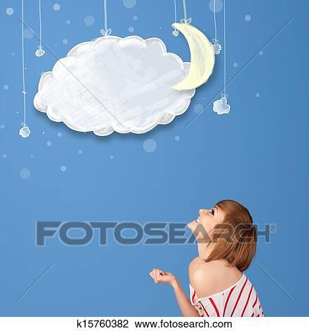 云, 带, 月亮