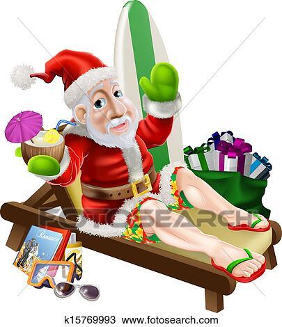 剪贴画 圣诞老人, 海滩假期